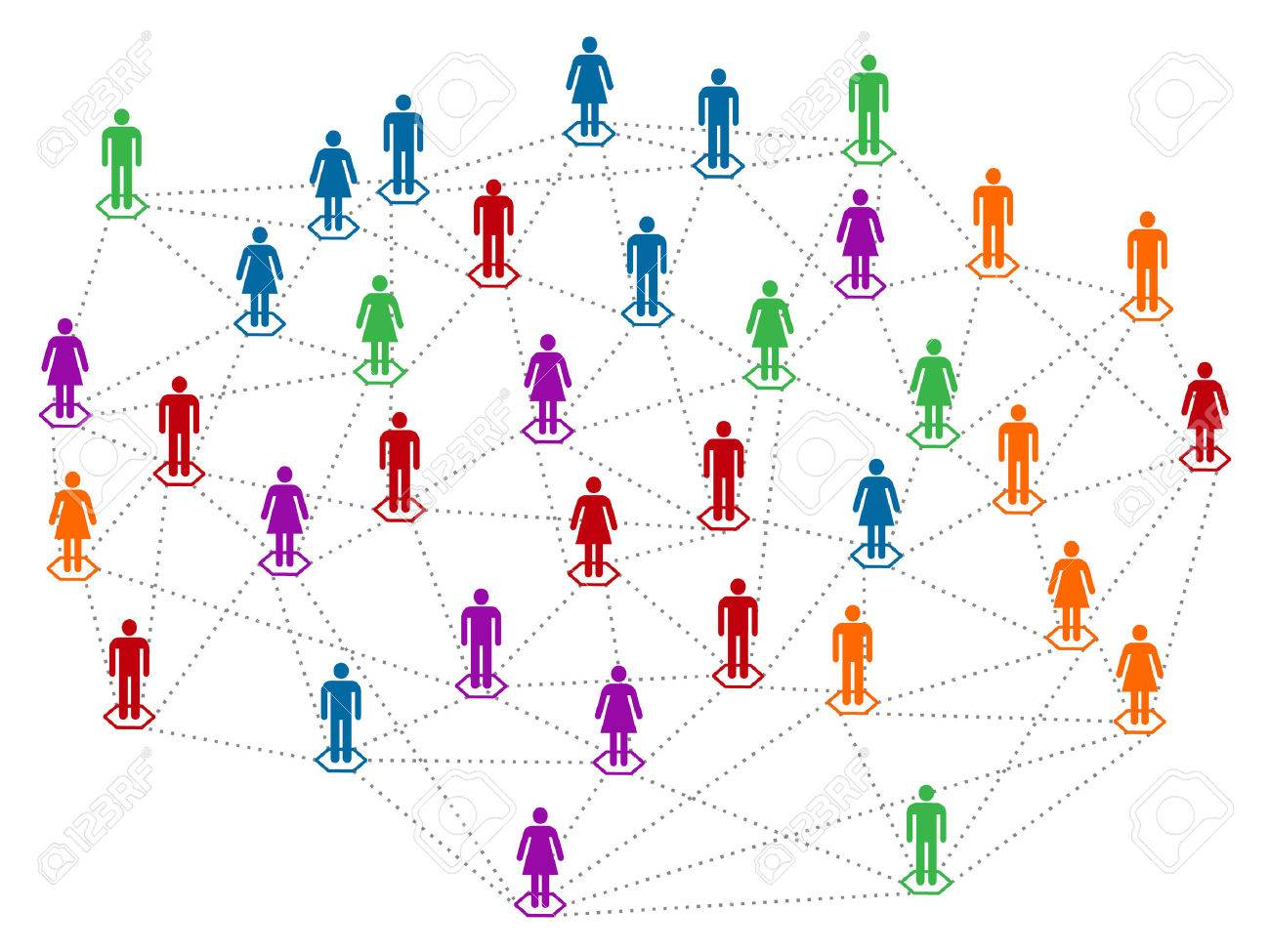 networt コンセプト 別の色のコミュニティ 人口 男性と女性が一緒に