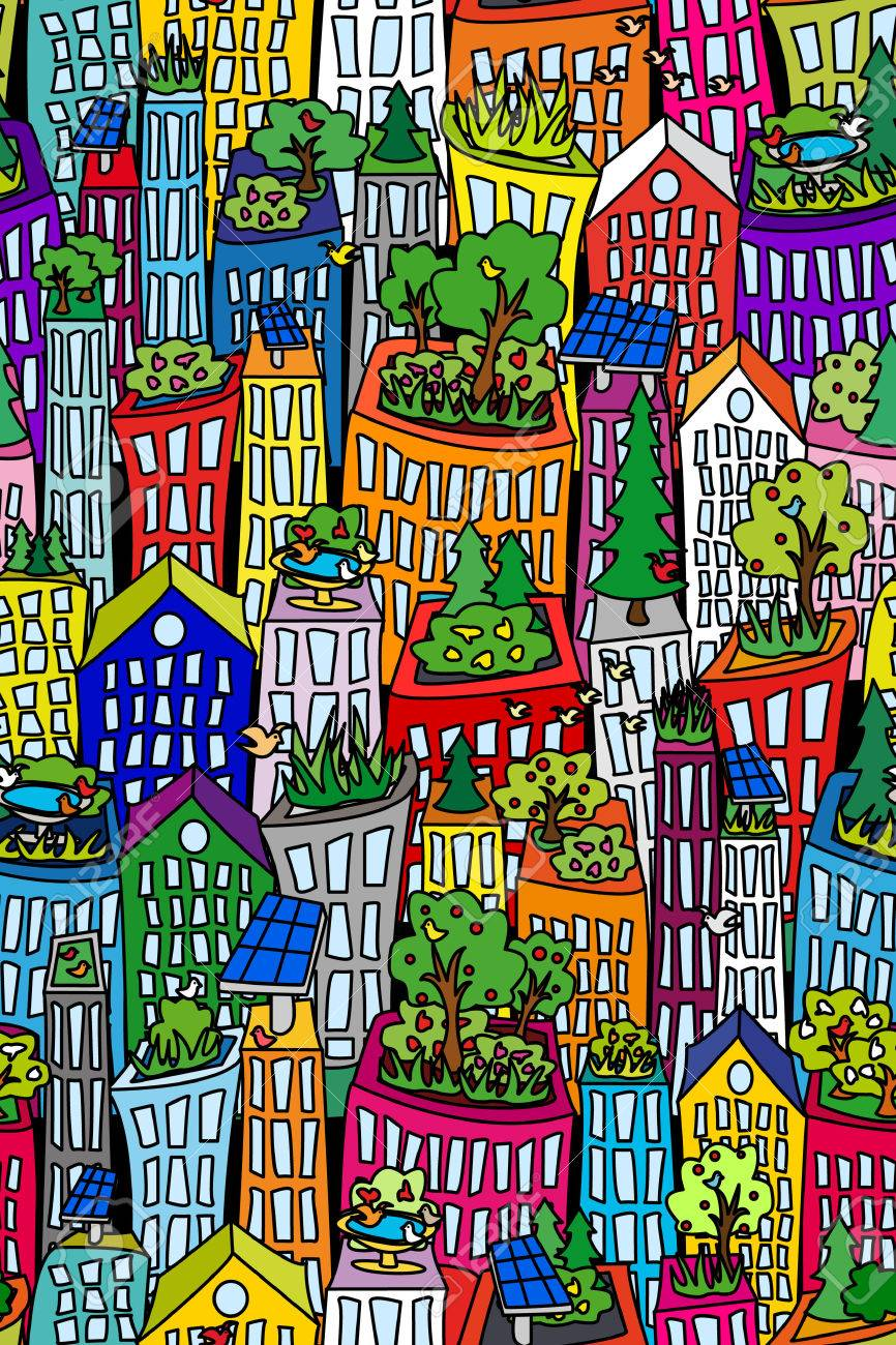 Fun seamless cityscape pattern with tall buildings and skyscrappers, green roofs and solar pannels - 25120166