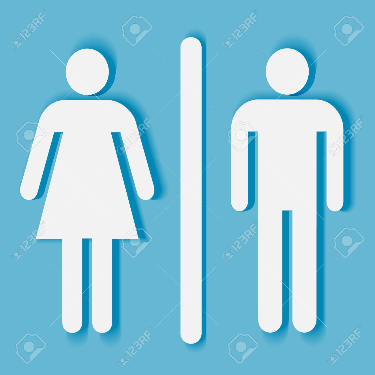 Bathroom Or Toilet Sign And Symbol: Man And Woman Silhouette With Shadow  Stock Vector