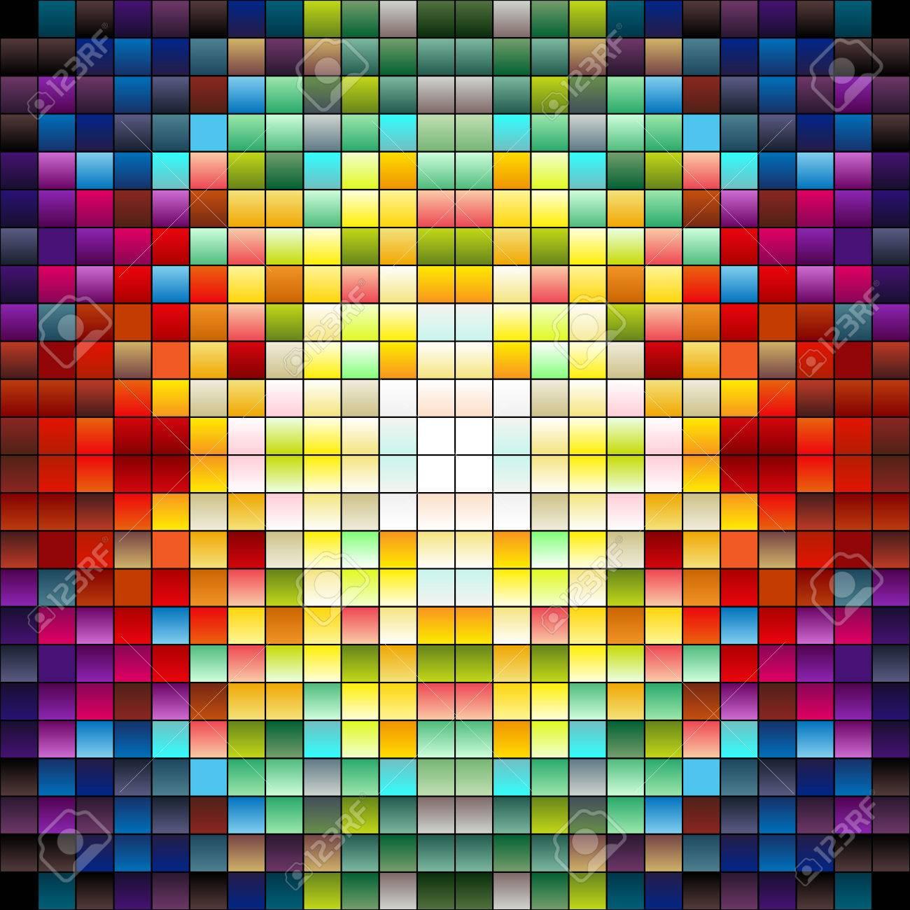 Carrés Colorés Les Pixels Ou Les Carreaux De Mosaïque Couleurs Gradiant