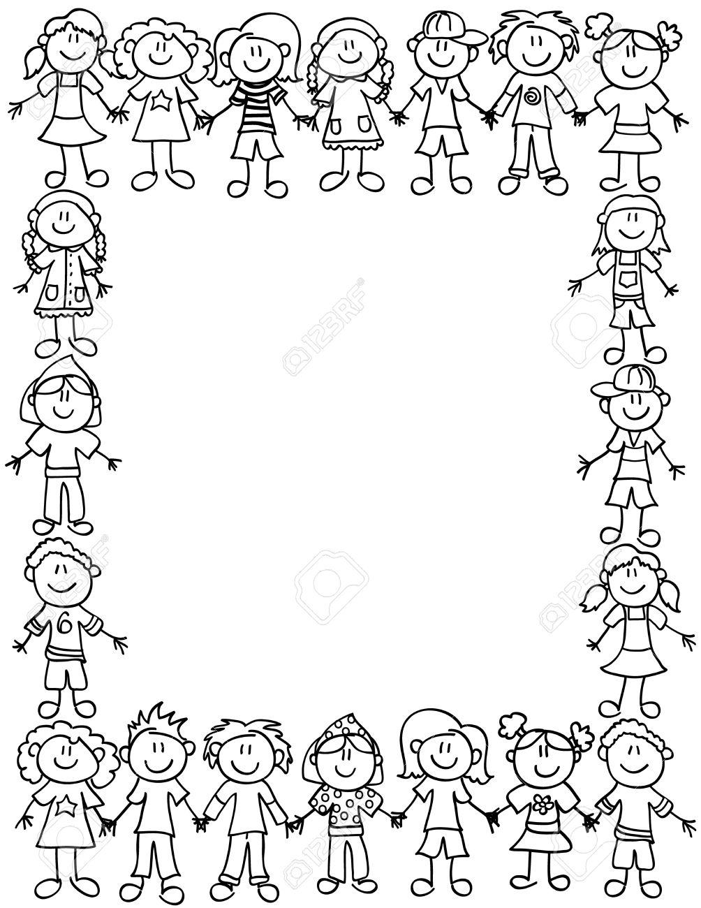 Cadre Ou Bordure De Page Des Personnages De Dessin Anime Mignon D Enfant Tenant Par La Main Clip Art Libres De Droits Vecteurs Et Illustration Image 36385925