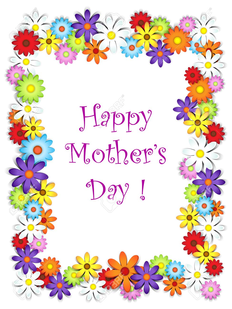 Flower Frame Happy Mothers Day Card Royalty Free Cliparts Vectors