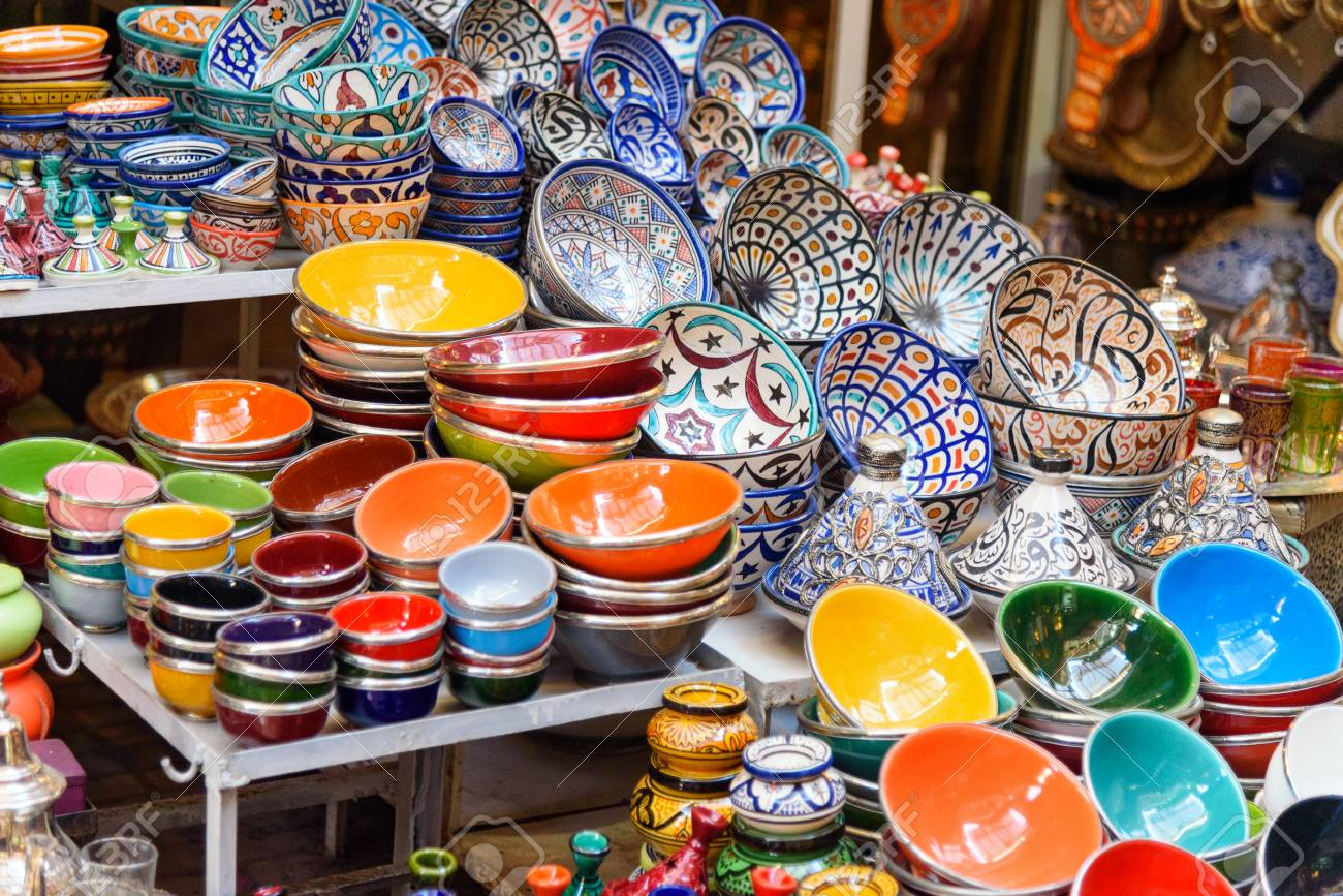 Plates For Sale >> Traditional Ceramic Plates For Sale On The Street Market In Marrakesh