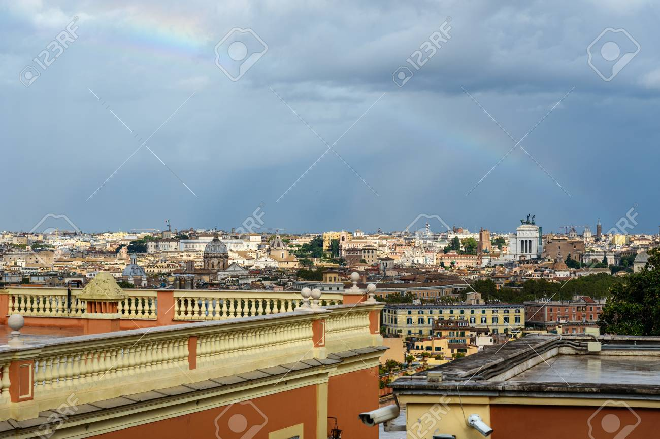 Rainbow Over Rome Arial View Of Rome City From Janiculum Hill