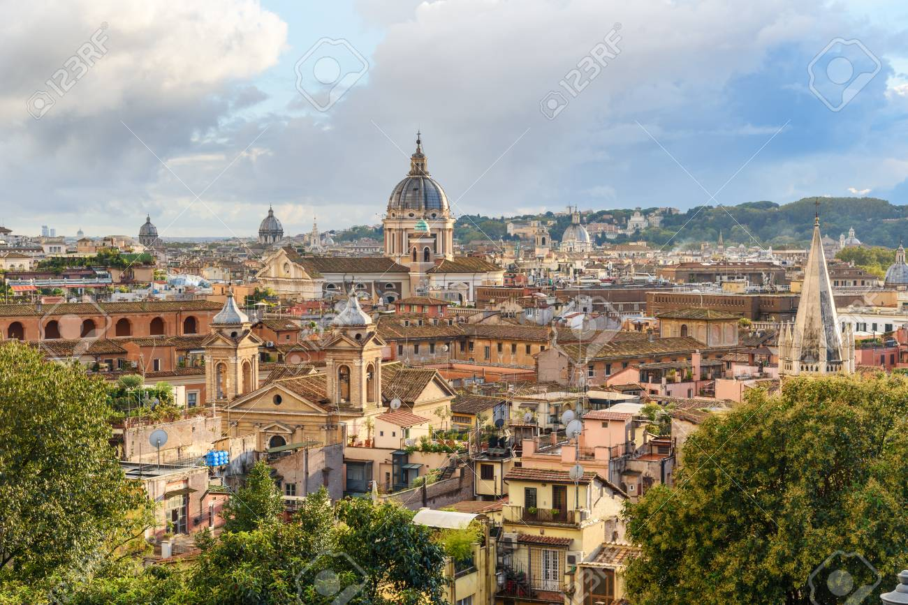 View On Rome City From Terrazza Viale Del Belvedere Italy