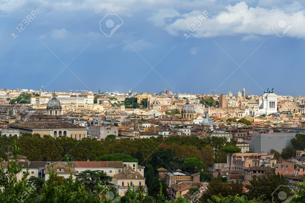 Arial View Of Rome City From Janiculum Hill Terrazza Del Gianicolo