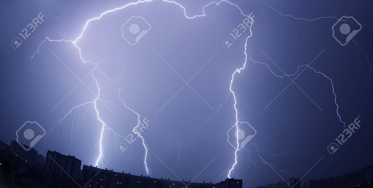 Images of lightning over the city Stock Photo - 7623391