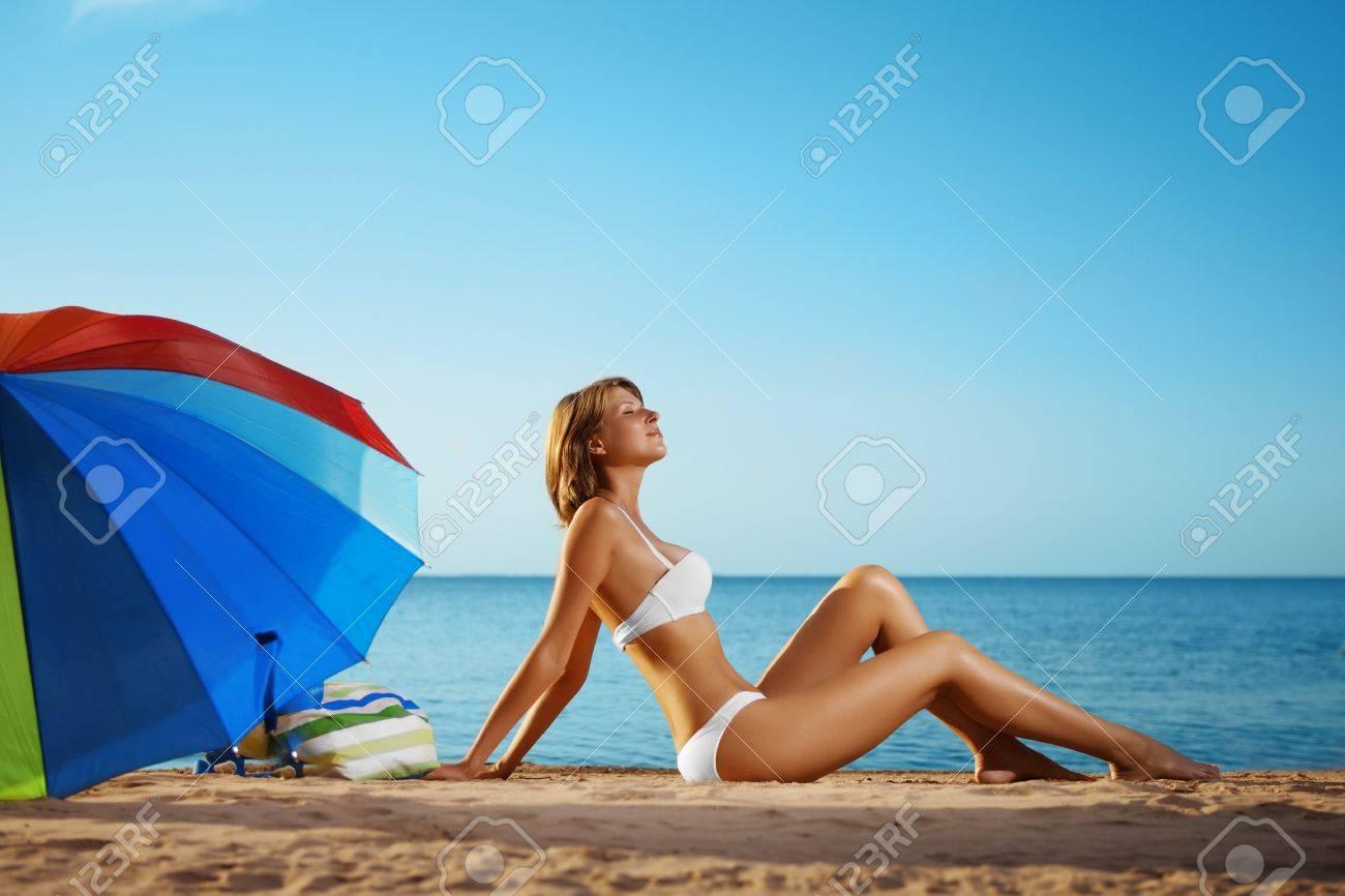 Image of luxury girl lies on the beach Stock Photo - 10705005