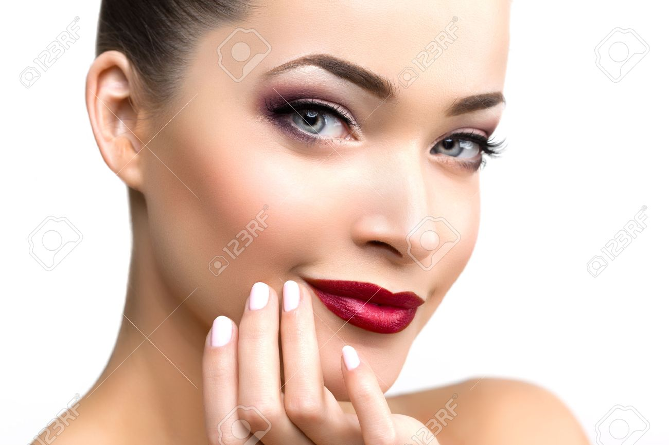 beautiful model woman in beauty salon makeup young modern