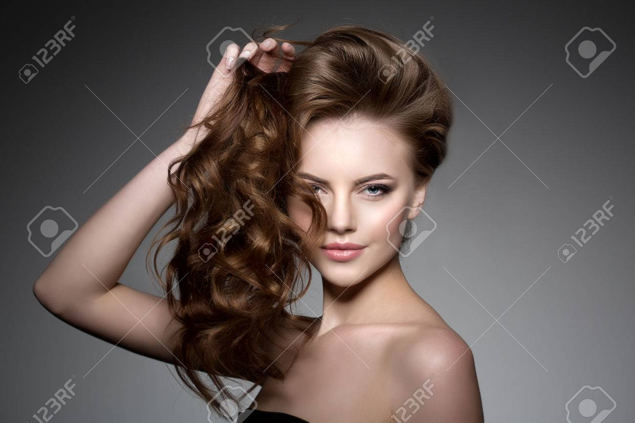 Model With Long Hair Waves Curls Hairstyle Luxurious Haircut