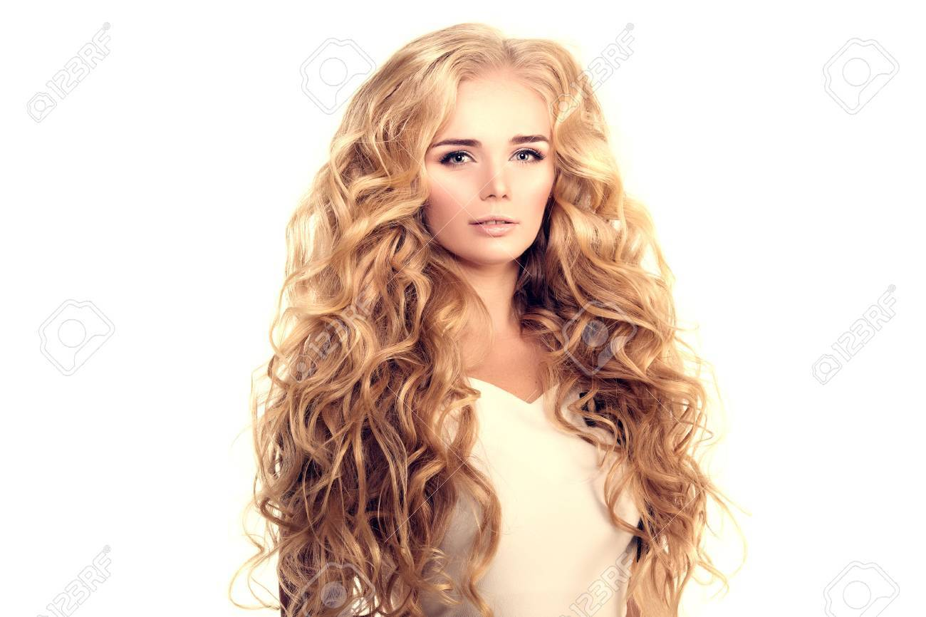 Model With Long Hair Blonde Waves Curls Hairstyle Hair Salon Stock
