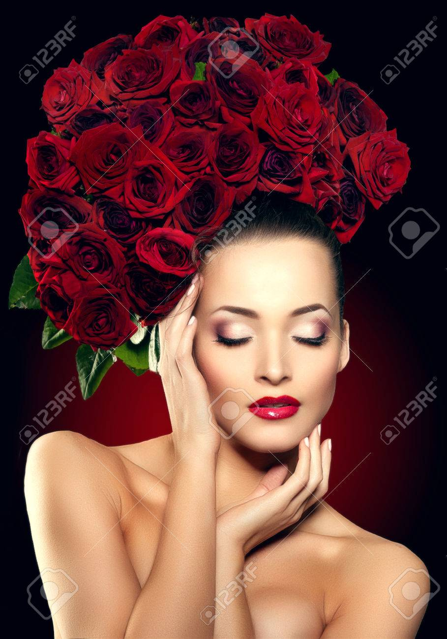 Beautiful Female Lips With Shiny Lipstick And Red Rose Stock Photo ...
