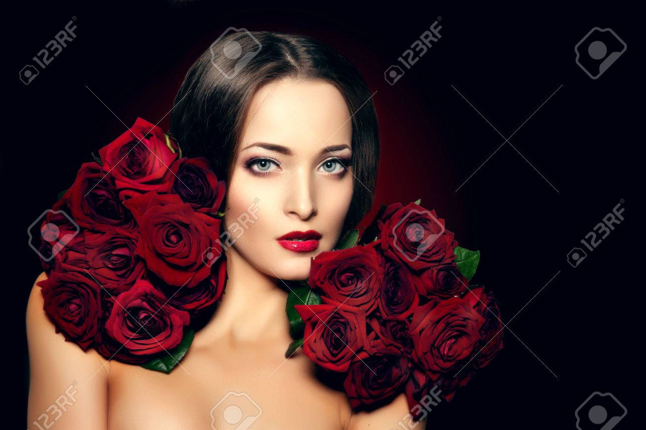 Beautiful Model Woman Rose Flower Hair Stock Photo 341158262 ...
