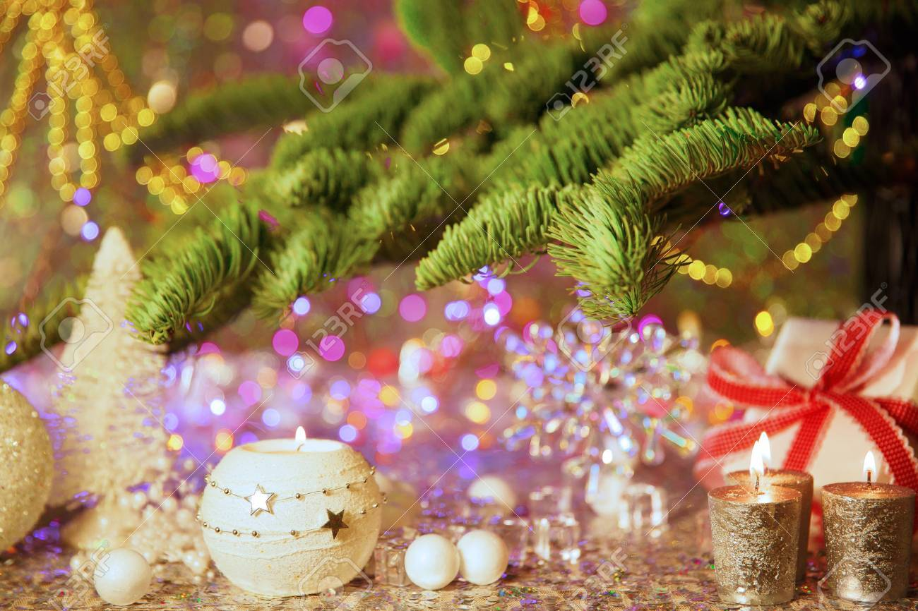 background on a theme of new years party decorated fir tree