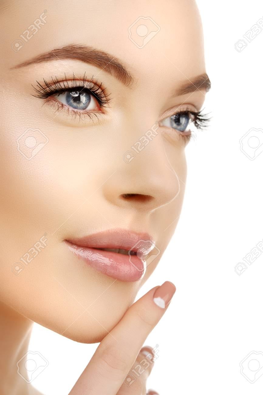 Young Beauty Woman with Clean Fresh Glowing Skin. Beautiful girl. Cosmetology and Facial Treatment, spa. - 91247704