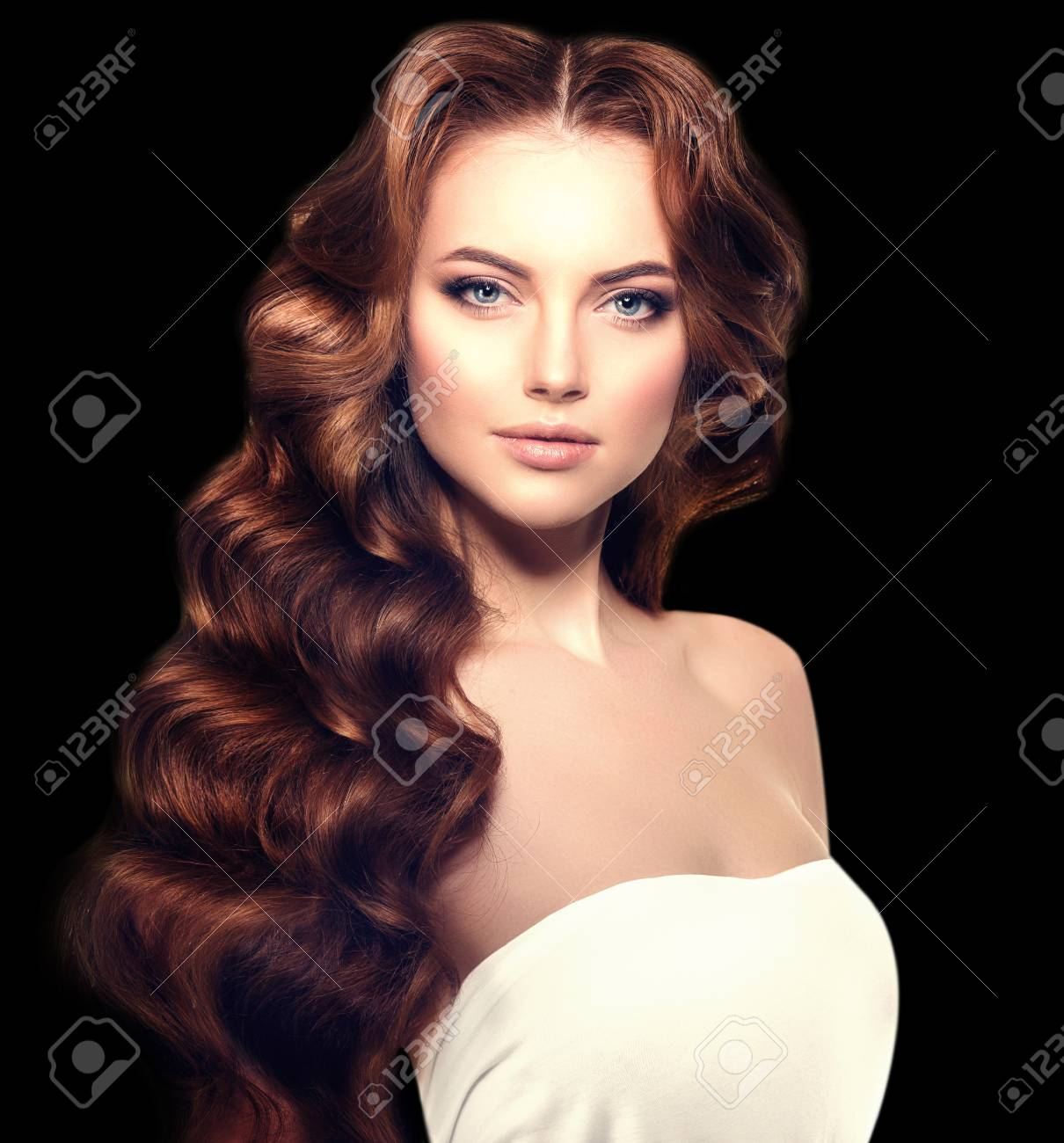 Long Hair On A Black Background Waves Curls Hairstyle Hair