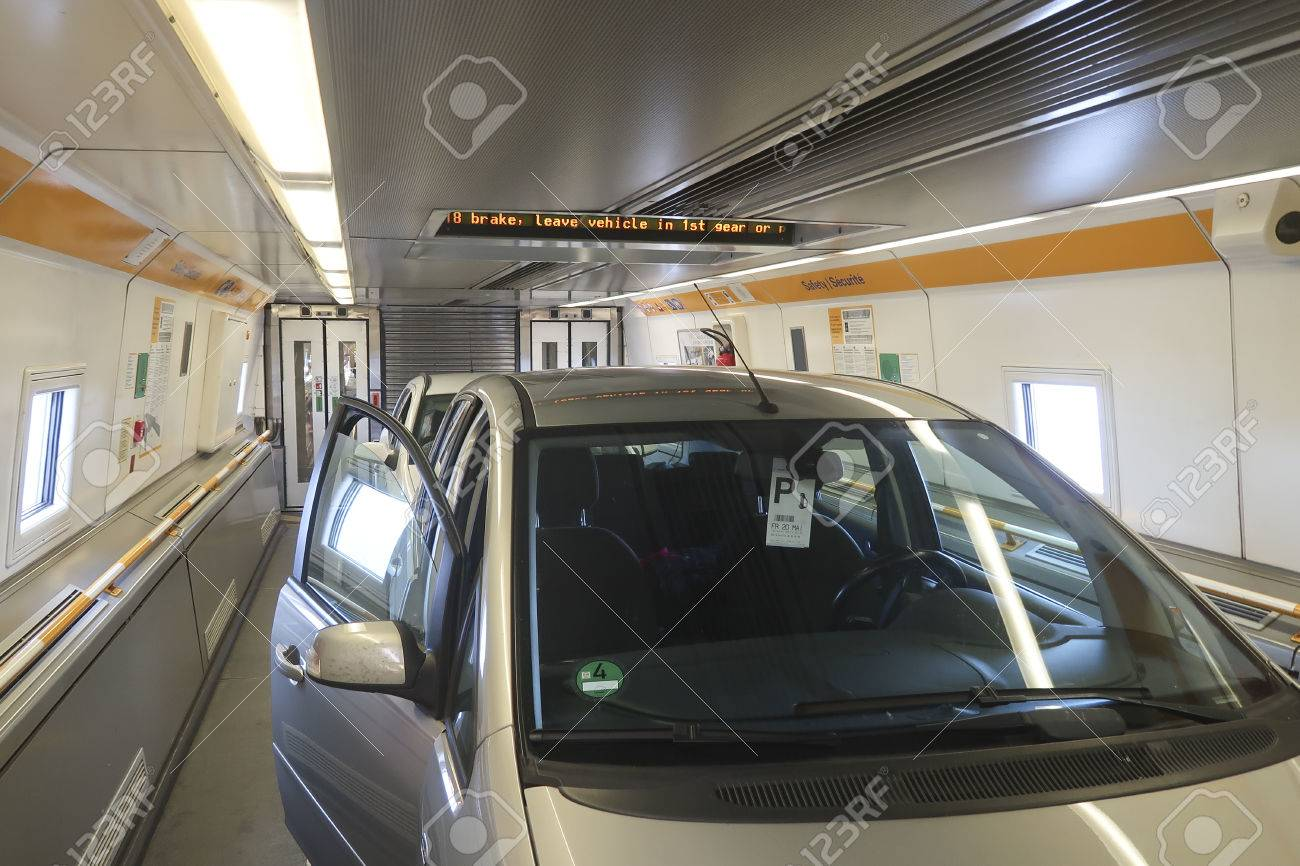 Car In Channel Tunnel Train From Calais To Folkestone Stock Photo