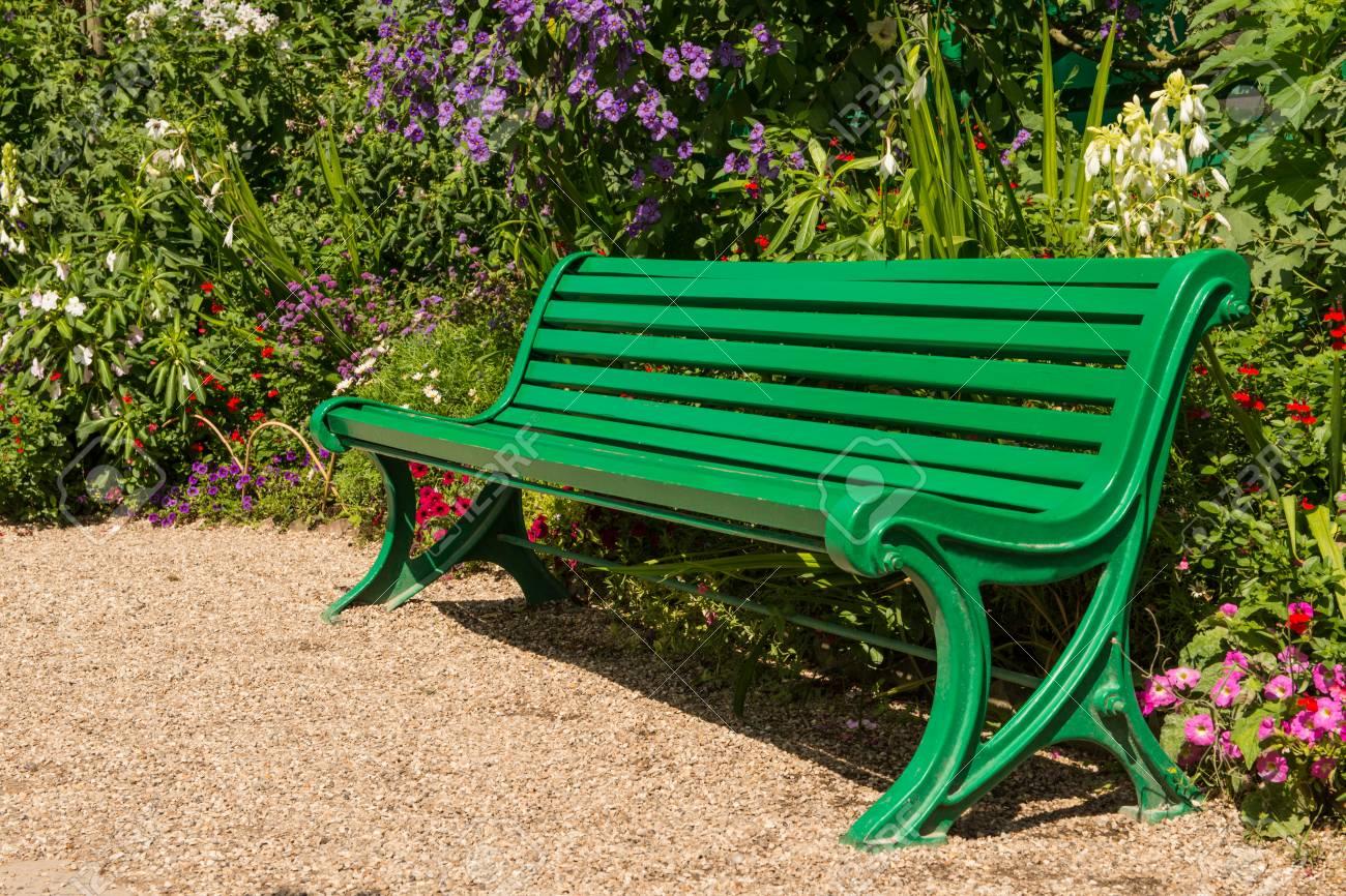 Brilliant Empty Green Bench In The Garden On Monet In France Evergreenethics Interior Chair Design Evergreenethicsorg