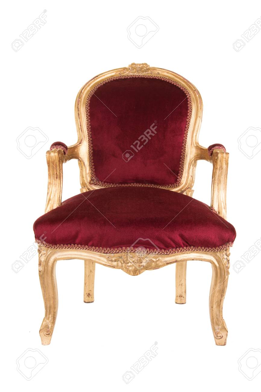 Red and gold victorian old antique chair isolated at a white background  Stock Photo - 88830216 - Red And Gold Victorian Old Antique Chair Isolated At A White.. Stock