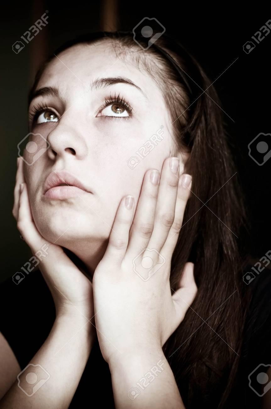 Closeup portrait of depressed teenager girl Stock Photo - 13354891