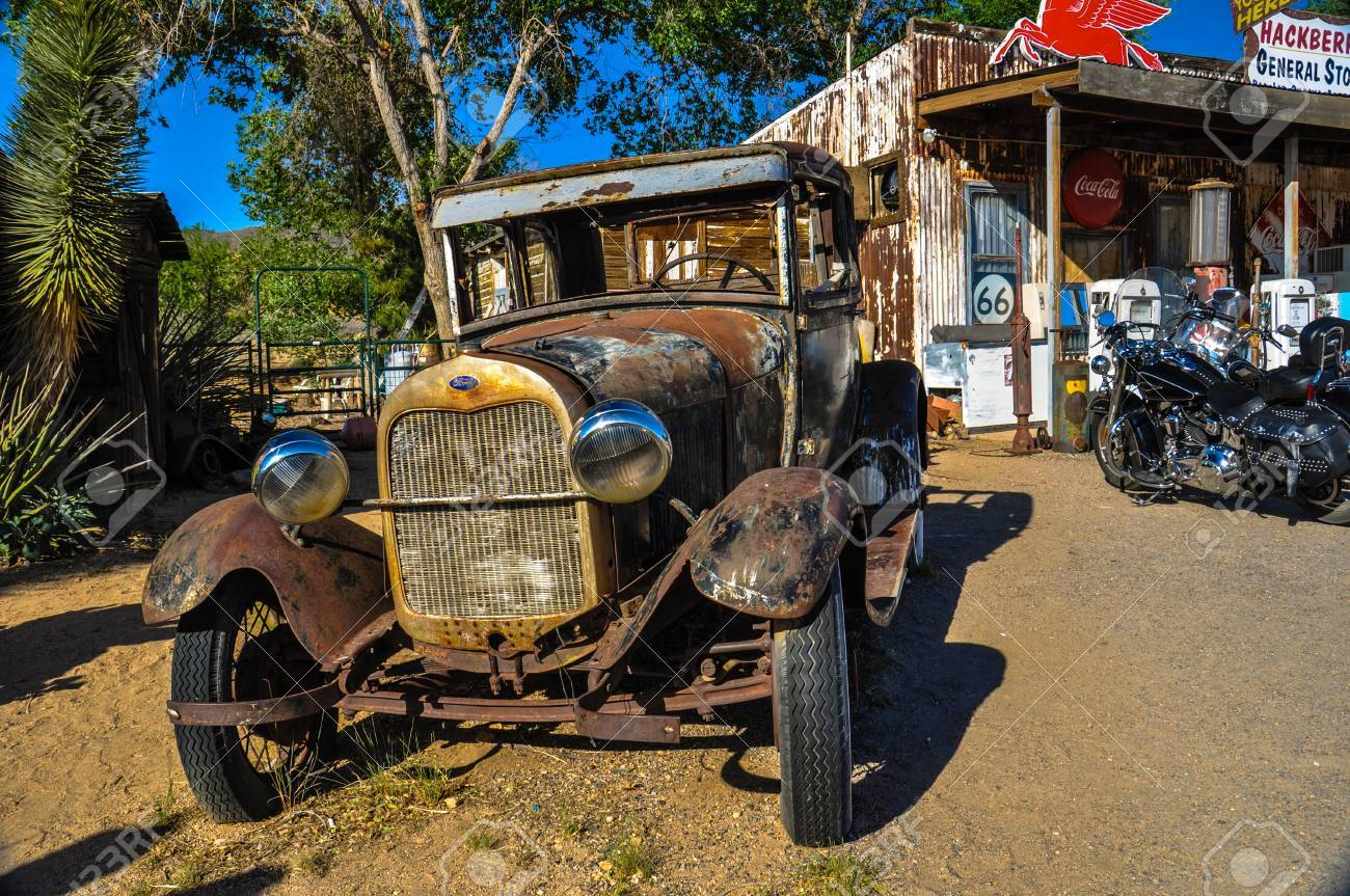 A Vintage Car Left Abandoned Near The Hackberry General Store ...
