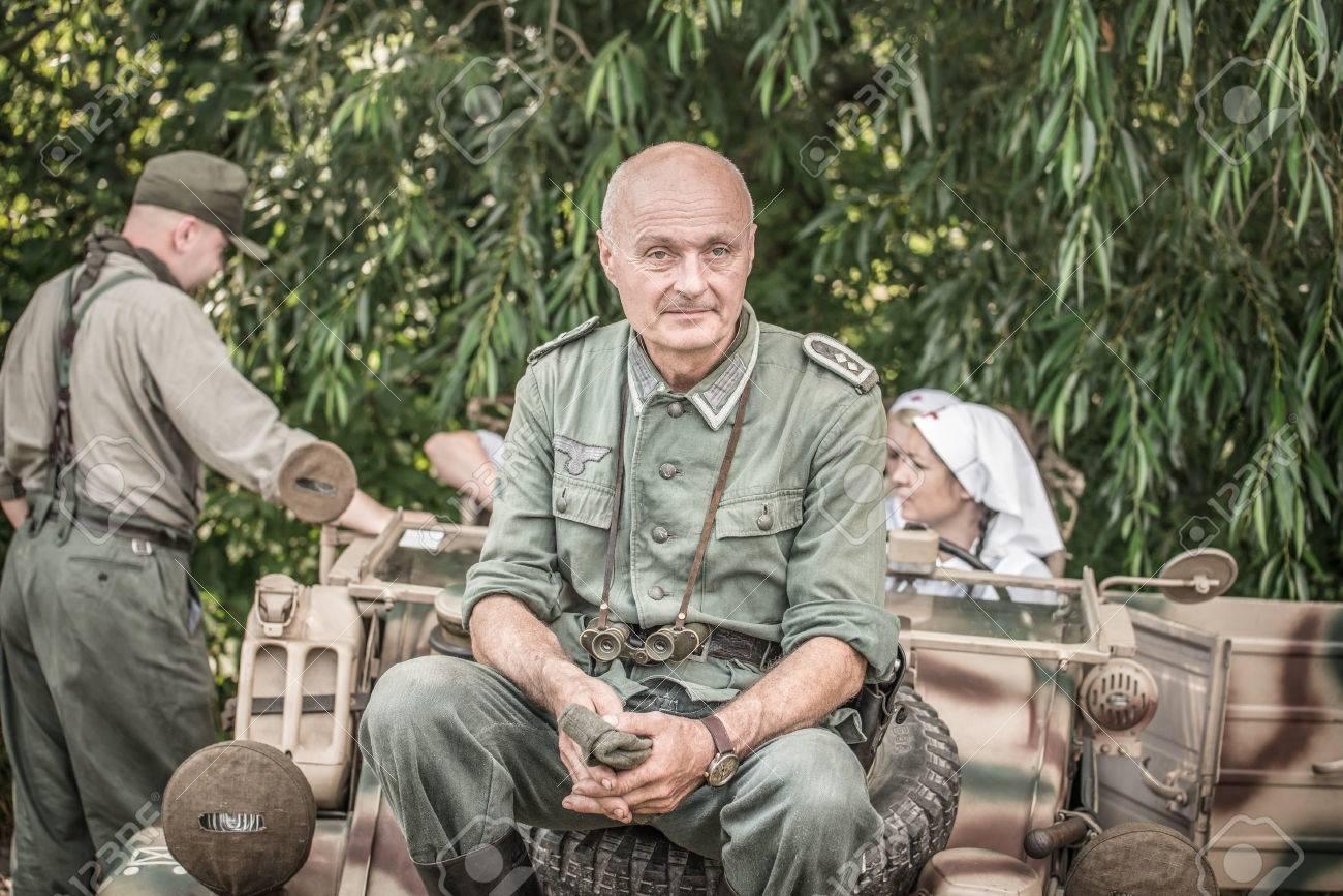 TEKOV, SLOVAKIA - JULY 26,2014: German lieutenant on a pause