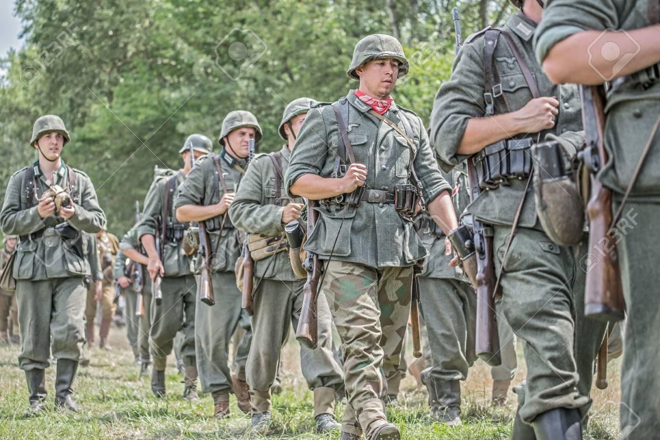 STARY TEKOV, SLOVAKIA - JULY 26,2014: German soldiers marching