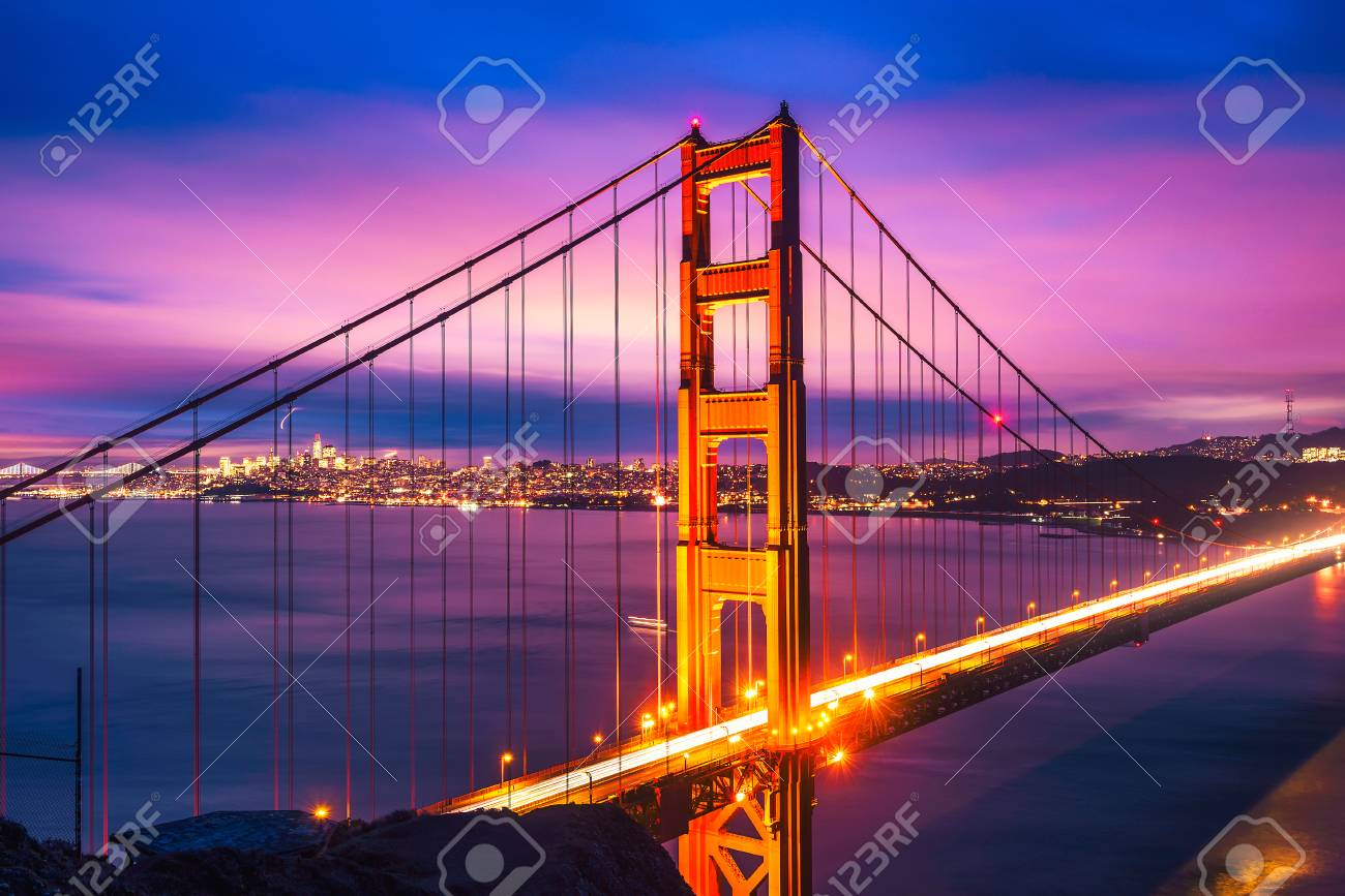Golden Gate Bridge at night - 120553811