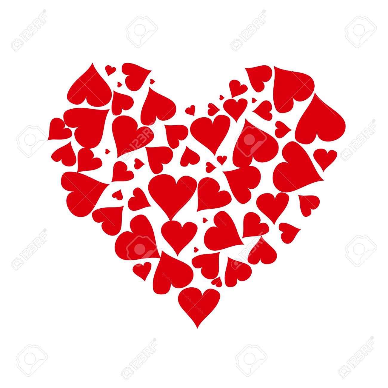 Corazón Hecho De Pequeños Corazones Ilustraciones Vectoriales Clip