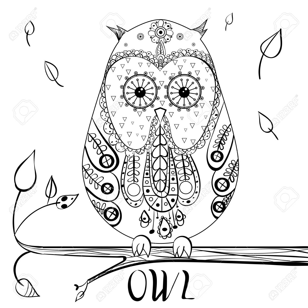 Decorative owl. Adult antistress coloring page. Black and white..