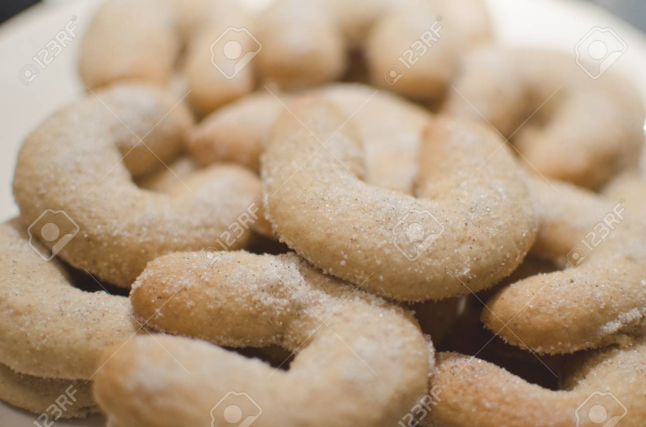Closeup Of Czech Traditional Christmas Biscuits Coated In Vanilla