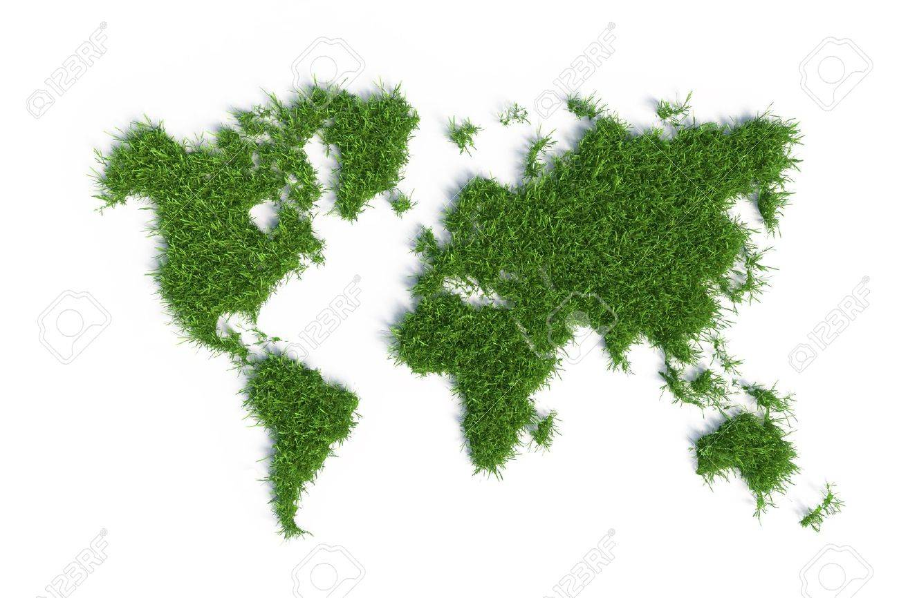 ecological map of the world in green grass isolated on white background - 23822742