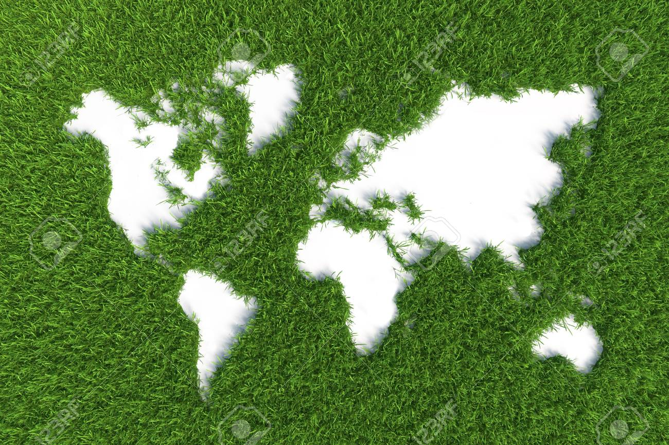 map of the world on grass isolated on green background - 23823043