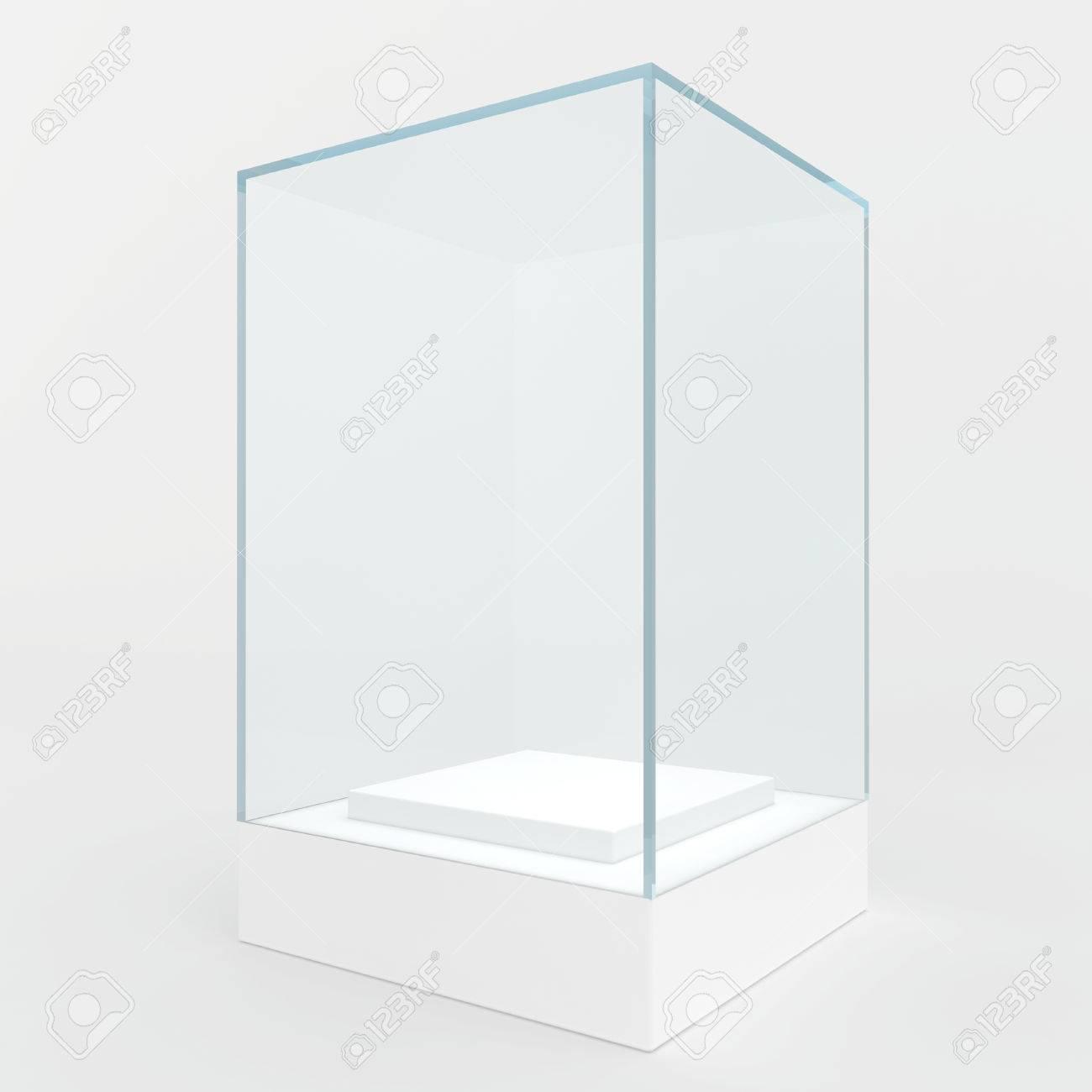 Glazen Kubus Met Foto.Showcase Niet Hoog Podium En Een Glazen Kubus Geisoleerd Op Grijs