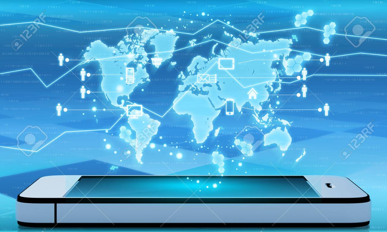 Modern communication technology with mobile phone and high tech modern communication technology with mobile phone and high tech world map stock photo 31510706 gumiabroncs Choice Image