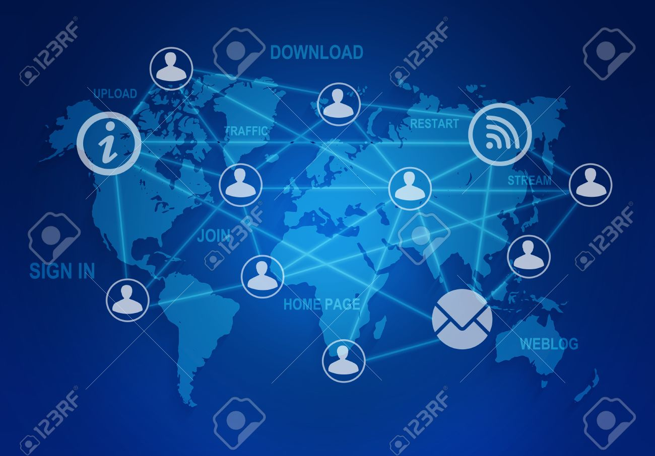 computer icons and people connection in a global network on the world map stock photo
