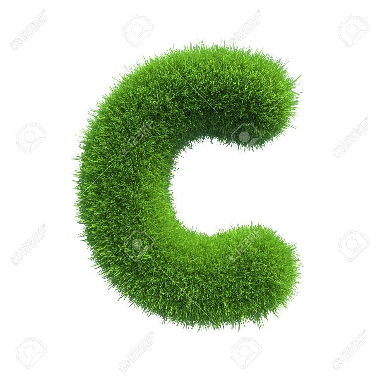 Letter of green fresh grass isolated on a white background - 34448998
