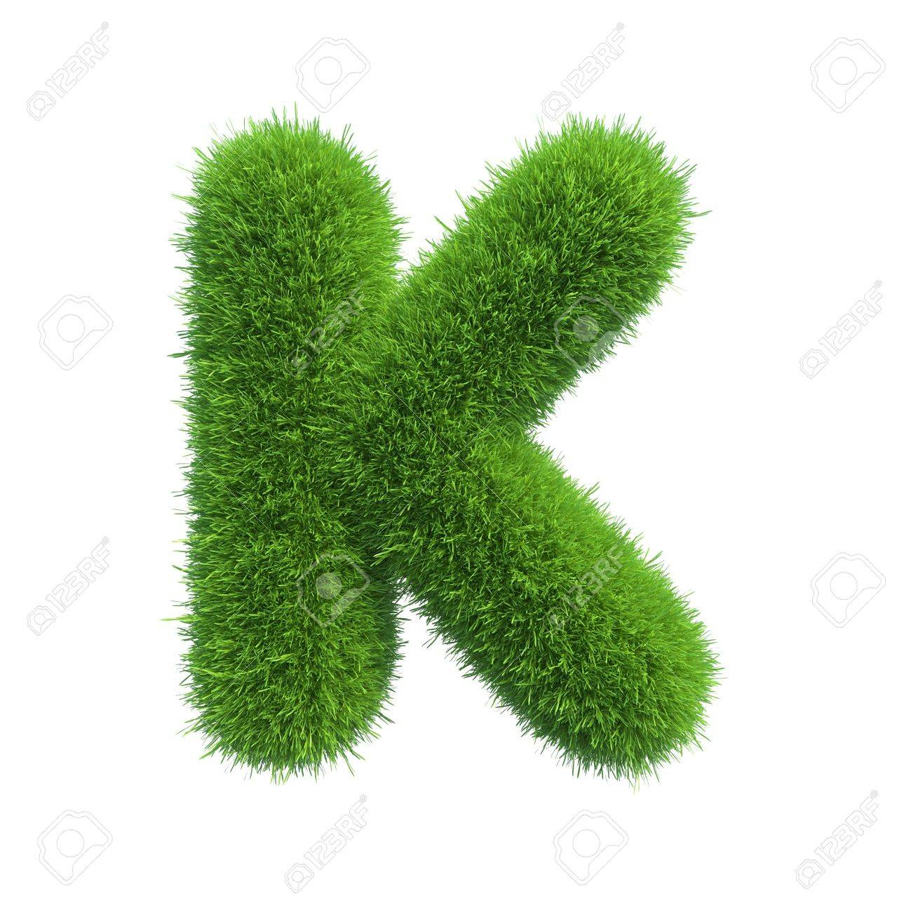 Letter of green fresh grass isolated on a white background - 34449012