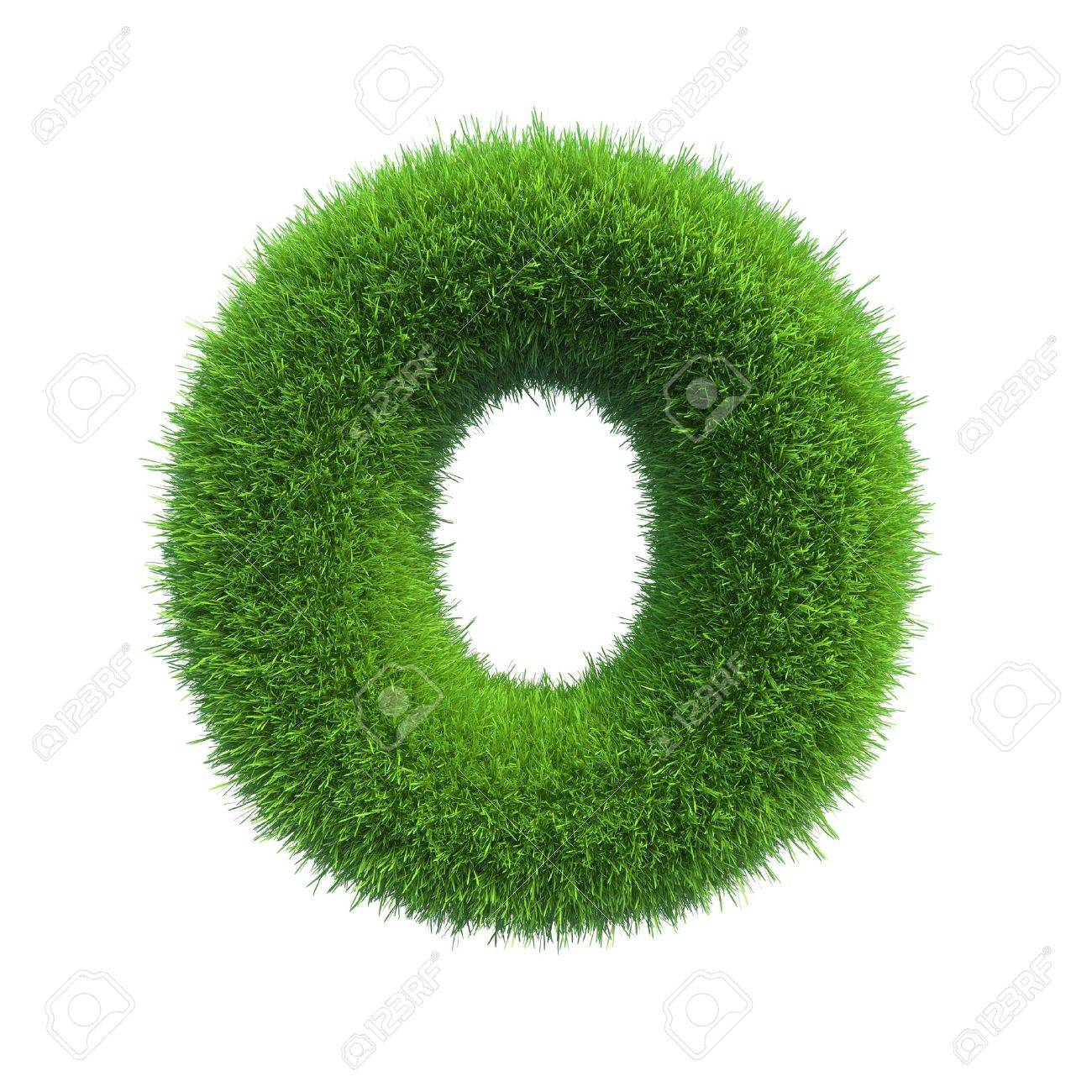 Letter of green fresh grass isolated on a white background - 34449025