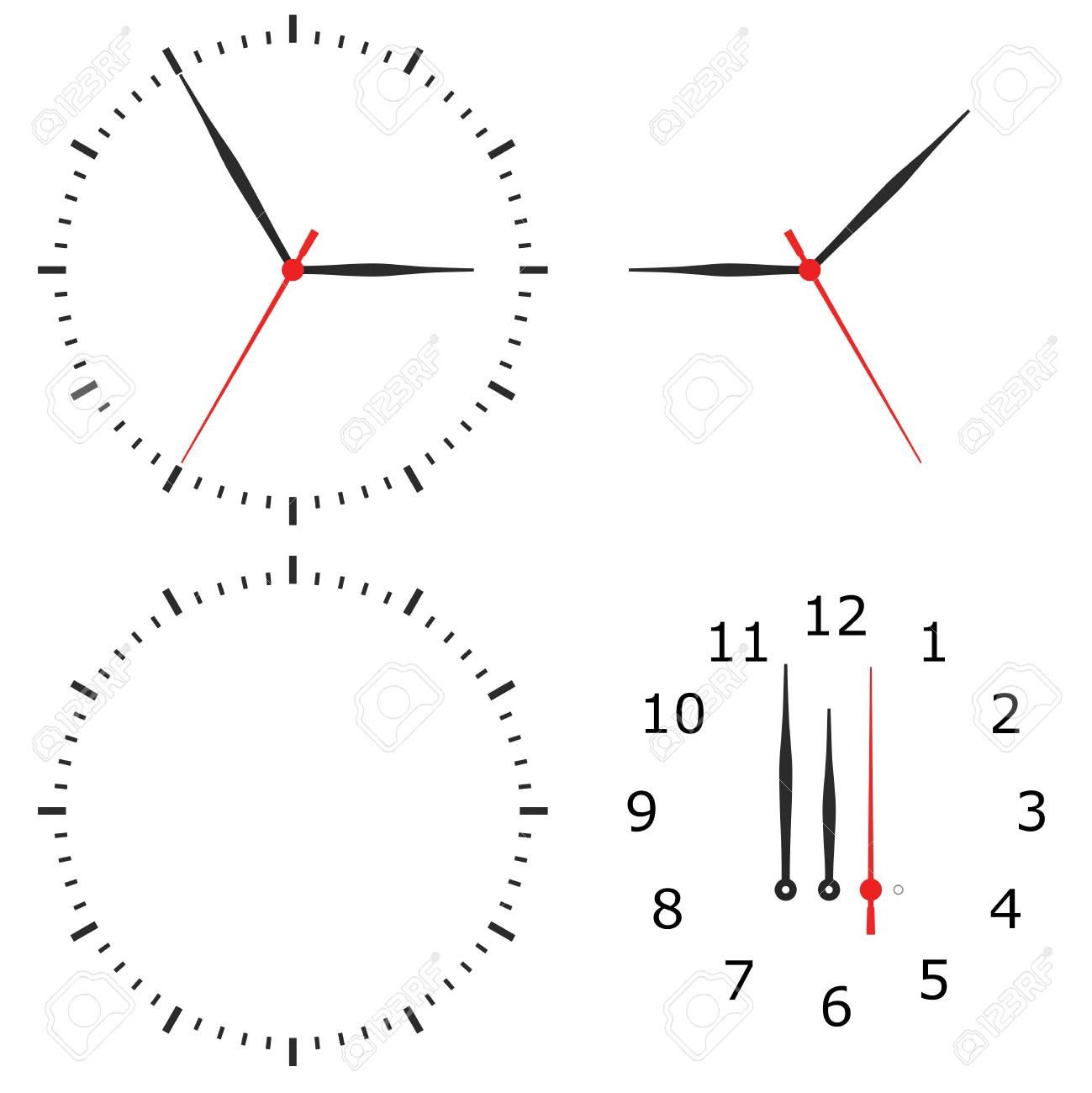 Template Clock With Arrows And Numbers Isolated On A White ...