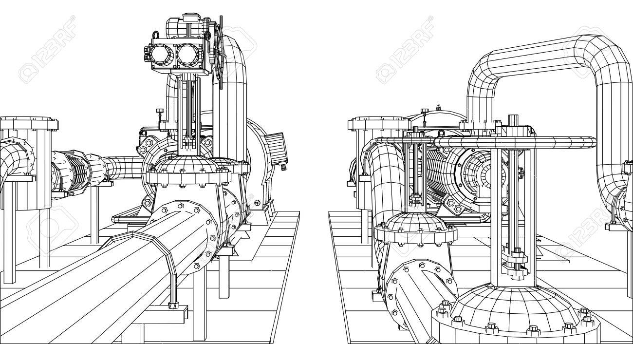 Wire-frame Industrial Equipment Oil And Gas Pump. Tracing ...