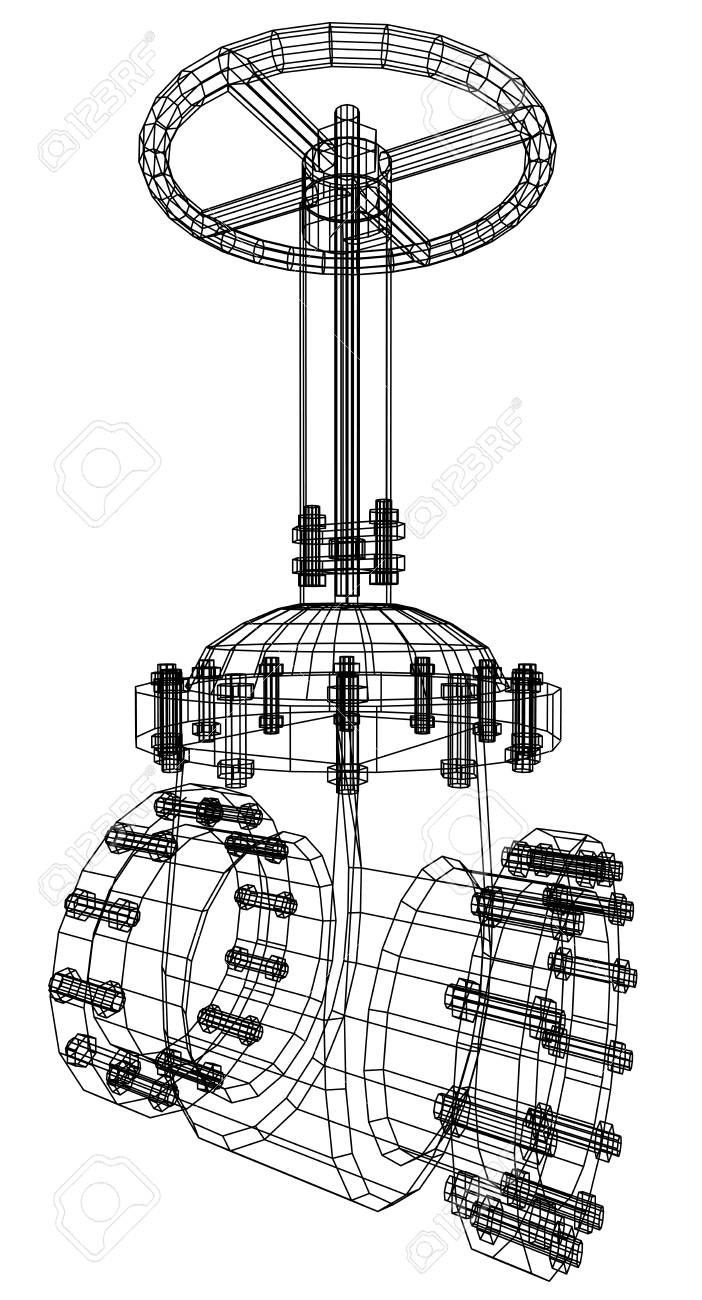 Vector Industrial Equipment Oil And Gas Valve. EPS 10. Tracing ...