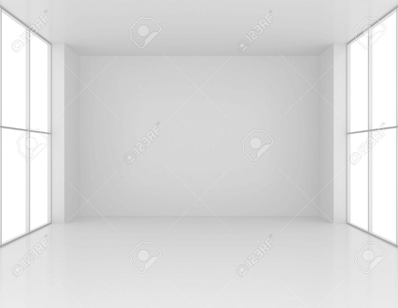 清潔で大きな窓があるホワイト ルームを空に。3 D のレンダリング の ...
