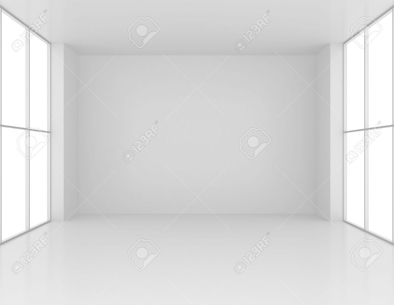 Clean and empty white room with large windows. 3d render - 39650902