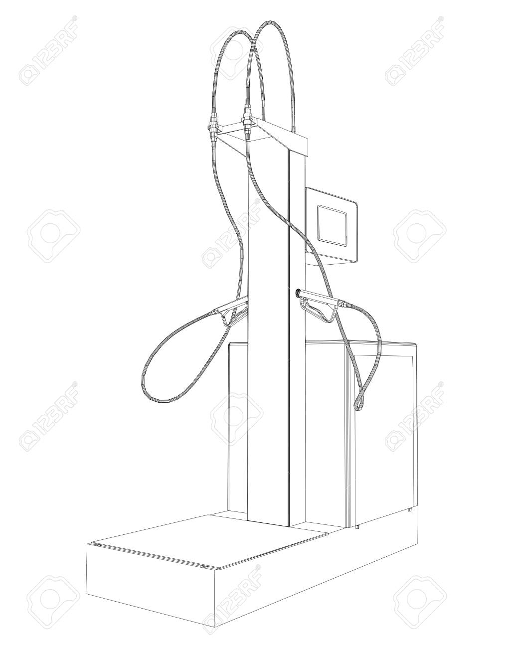 Wire-frame Vector Oil And Gas Station Equipment. Illustration ...