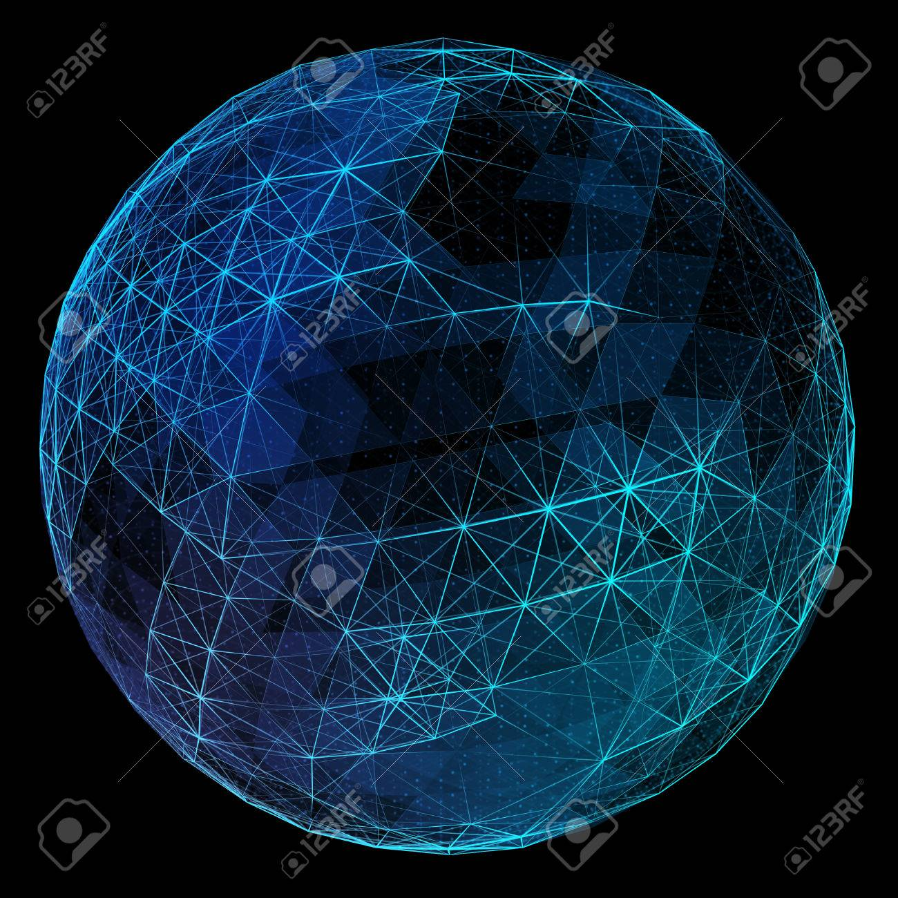 Abstract blue network globe. Technology concept of global communication. - 44363183