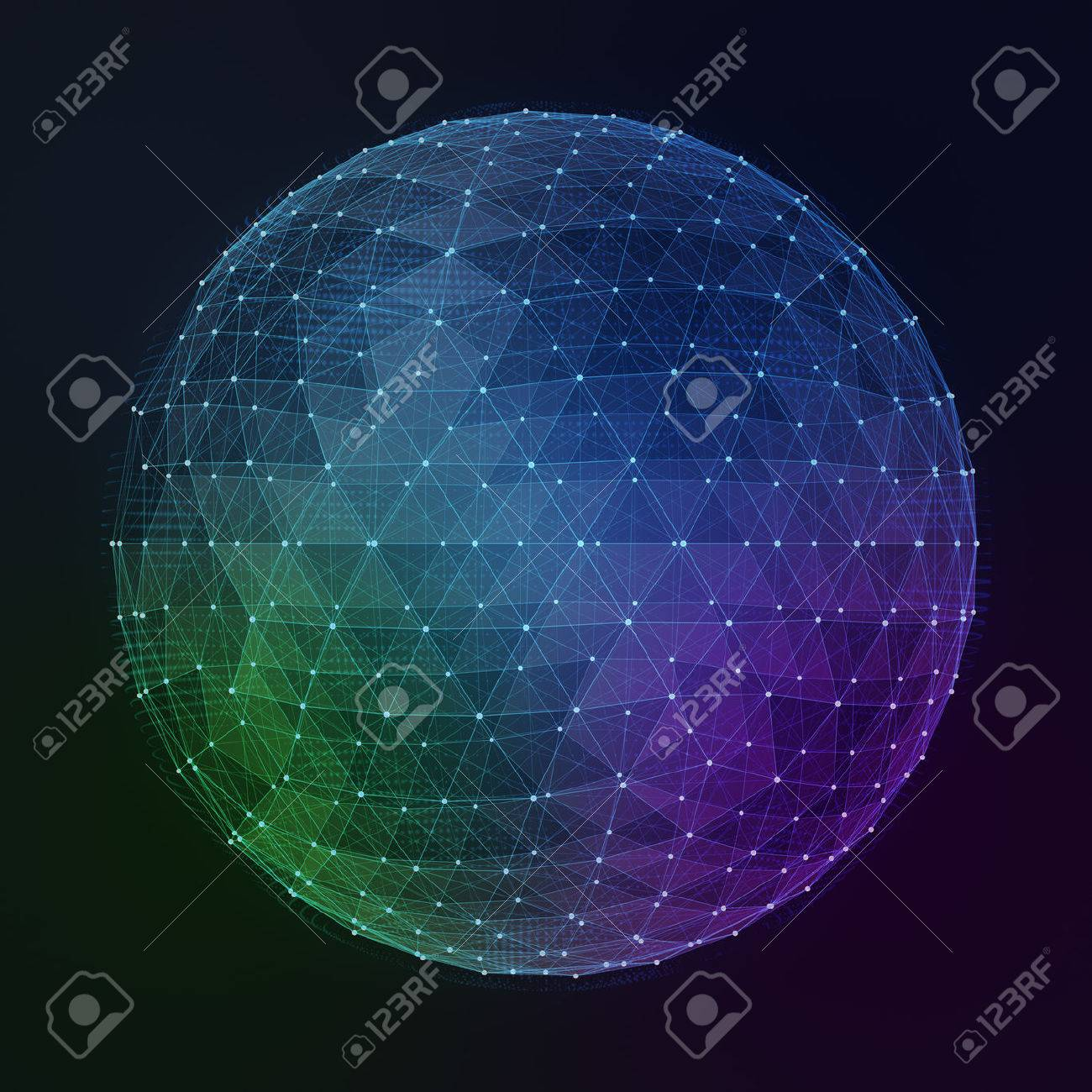 Abstract digital global network. Wire-frame illustration of globe. - 44371871