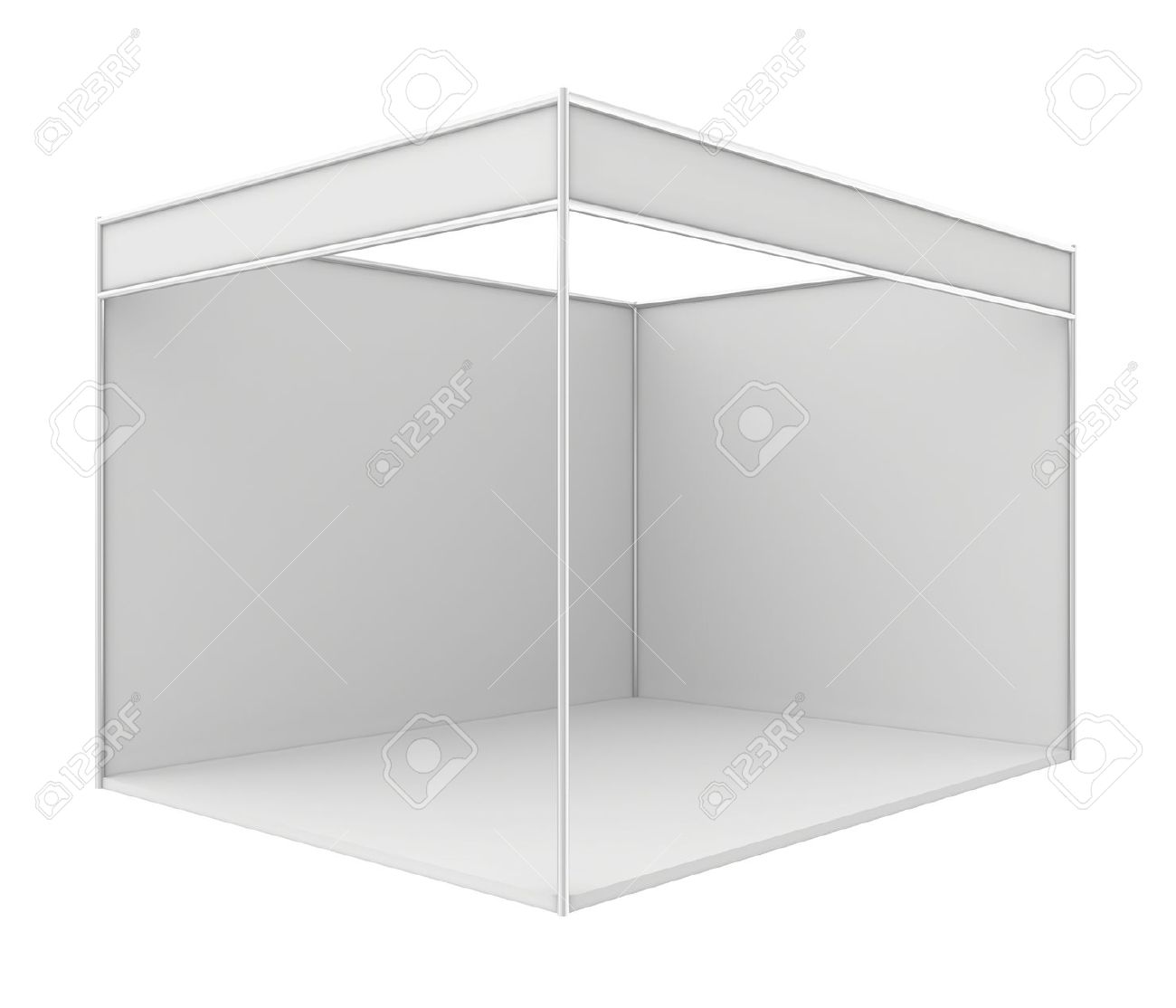 Exhibition Stand White : Blank trade exhibition stand d render isolated on white stock