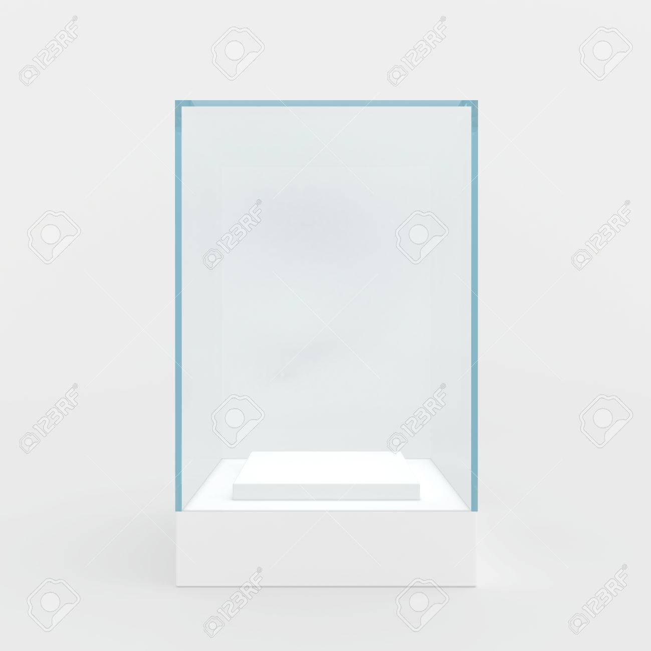 3d Empty glass showcase for exhibit. gray background - 45789847