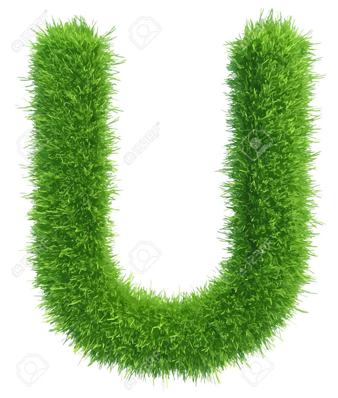 Vector capital letter U from grass on white background. - 46273015